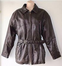 Women's Vintage BIKER Hip Length Brown Thick 100% Leather Jacket Coat Size M