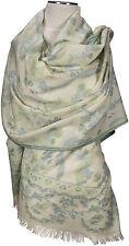 Pashmina Kani Schal Blau Grün Creme scarf stole 100% Wolle, wool écharpe foulard
