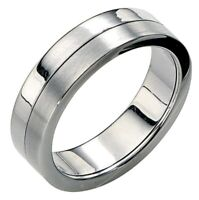 Fred Bennett Brushed & Polished Stainless Steel Slim Band Spinning Stress Ring
