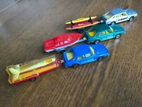 LOT OF 3 MAJORETTE SAAB TURBO + 3 TRAILERS - MADE IN FRANCE - VERY NICE COND.