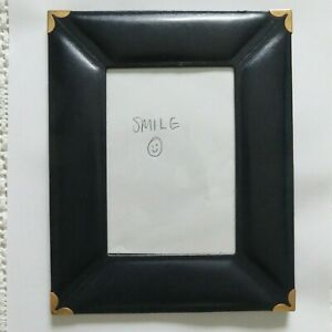 Fetco Leather Navy Blue Gold Accent, Picture Photo Frame Made in Turkey