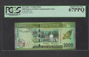 Sri Lanka 1000 Rupees 4-2-2018 P130 Commemorative Uncirculated Graded 67