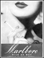 1935 Marlboro cigarettes woman's lips ivory tips vintage art Print Ad  adL29