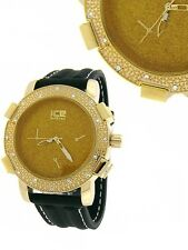 NEW BLING BLACK SILICONE BAND+ GOLD TONE ICE COVERED PAVE CRYSTALS DIAL WATCH