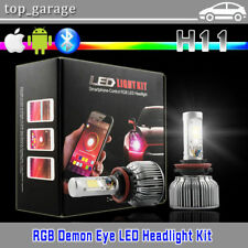 2017 NEW! 2-in-1 H11 RGB Demon Eye LED Headlight Kit + Bluetooth Phone Control