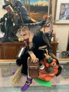 "16"" Katherine's Collection Halloween Winona Witch Cat on Pumpkin NIB"