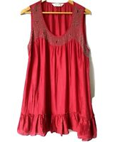 Virtuelle by Taking Shape Womens Sleeveless Red Tunic Dress with Beads - Size 12