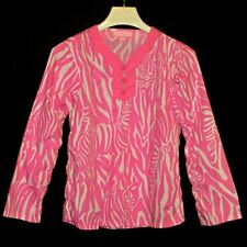 LILLY PULITZER Long Sleeve Pink Knotted Frog Buttons Top Shirt Girls 8