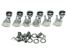 Chrome Lefty Guitar Tuners Tuning Keys Pegs with Skull Buttons for Strat Tele