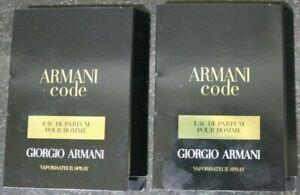 NEW! Lot 2- Georgio Armani ARMANI CODE EDP POUR HOMME Sample 1.2ml. Made France