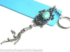 Vintage Antique Dangling Turquoise Stone Crystal Keyring Charm Handbag Keychain