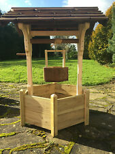 garden wishing well wooden hand made planter solid hand made