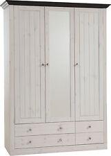 Kleiderschrank Monaco Schrank Kiefer massiv White Wash und kolonial B 145 Cm