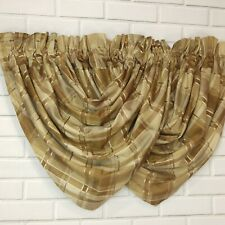 Brown Plaid Silk Waterfall Window Valance Lined Chris Madden Price Per Pair