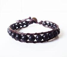 Matte onyx Mens leather stone Bracelets,Black bracelets,Onyx bracelets,Leather