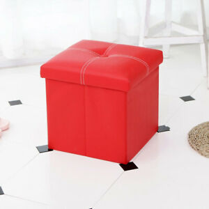 """Ottoman Footrest Storage Stool Folding Leather Seat Chair Bench 12"""" Furniture"""