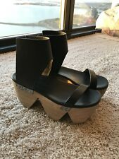 RICK OWENS Woman Black Leather Wood Clogs Sandal Shoes Size 39 EU