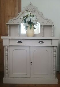 Antique Chiffonier Mirrored Sideboard Dresser Cabinet Painted Country French