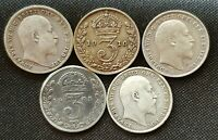 1902-1910 EDWARD VII STERLING SILVER THREEPENCE CHOICE OF YEAR CLEAR DATE