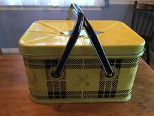 NESCO 'PICNICRYTE' VINTAGE YELLOW & BLACK METAL PICNIC CONTAINER