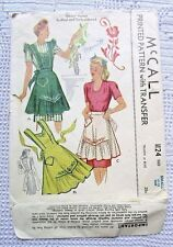1124 SEWING PATTERN~dated 1944~MISSES BIB APRONS&HALF APRON&TRANSFERS