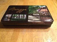"Brugge Pralines Candy Cookie Tin Can Beautiful Scenery 9.5"" x 6"" x 1.5"" Empty"