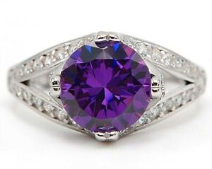 AAA Grade 4CT Amethyst & White Topaz 925 Sterling Silver Ring Jewelry Sz 6 M15