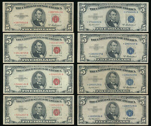 ^^EXCLNT^^ EIGHT $5 STAR NOTES (4 SILVER CERTS & 4 US NOTES) 1953 & 1963 > NO RS