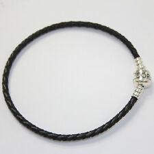 New Authentic Pandora Single Black Leather Bracelet 590705CBK-S W Suede Pouch