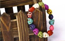 Tibet Buddhist Prayer Beads Mala Bracelet Strand Colorful Turquoise Gem Skull