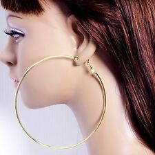 #C100 Non-pierced CLIP ON 2/3/4/5/6/7/8/9 or 10cm Small/Big Circle Hoop EARRINGS