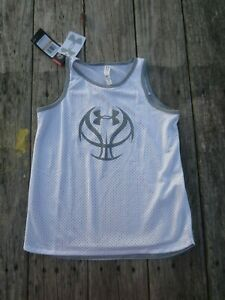 Under Armour ~ Girls White Gray Basketball Mesh Tank Top ~ NWT ~ Size S 7-8