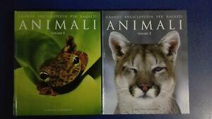 Grande enciclopedia per ragazzi ANIMALI volumi 1 & 2 fauna pesci uccelli insetti