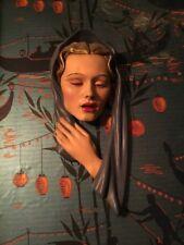 Large Art Deco Leonardi Lady's Head Face Plaque Wall Mask Plaster vintage