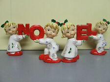 "Vintage Christmas Napco ""NOEL"" Boys & Girls in Pyjamas Candle Holders (#1CX3818)"