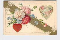ANTIQUE POSTCARD VALENTINES WINSCH TO MY VALENTINE CARNATIONS VIOLETS HEARTS GOL
