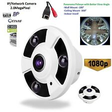1080P Fisheye Panoramic IP PoE Camera 360 Degree Wide Angle Indoor Network CCTV