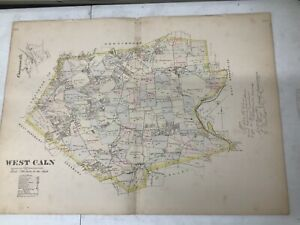 """C. 1880 Map Of West Caln, PA Hand-Colored 20 x 28"""" Double-Page"""