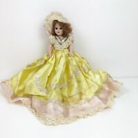 "Vintage 1948 Duchess Doll Corp 7"" Doll Yellow Dress Fancy Hat Red Hair Shoes"