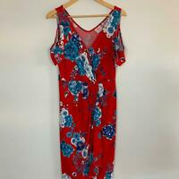 Leona Edmiston Women's Red Floral Cold Shoulder Wrap Dress 12 A9-15