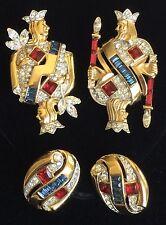 CROWN TRIFARI Alfred Philippe 1953 KING/QUEEN OF DIAMONDS Brooch & Earrings Set