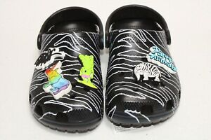Crocs Classic Clog Party Animals X Ron English Black White Size 13C In Box