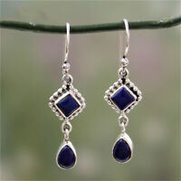 Women 925 Silver Blue Lapis Lazuli Dangle Hook Earrings Wedding Jewelry Gift Hot