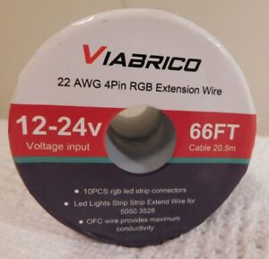 ViaBrico 66 FT, 20.5m 22 AWG 4Pin RGB Wire Extension Wire 12-24v LED Light Wire