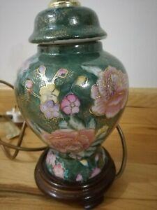 Vintage Chinese Ginger Jar Lamp Floral Motif