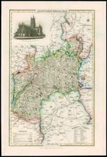 1846 - Original Antique Map of GLOUCESTERSHIRE by Slater GLOUCESTER CATHEDRAL