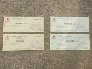 Lot of 4 Vintage 1969 & 1973 Atlanta Braves MLB Cancelled Checks