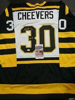 Gerry Cheevers Boston Bruins Autographed Signed White Style Jersey XL coa-JSA