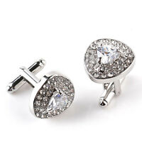 Luxury Crystal Cufflinks Mens Gold Silver Shirt Cuff Links Wedding Party Gift