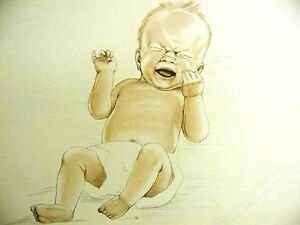 Lys Cassel RED HAIRED INFANT BABY BOY CRYING in DIAPER 1947 Vintage Print Matted